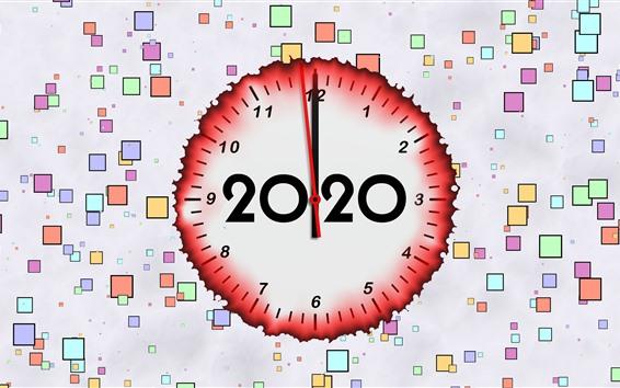 Fond d'écran Bonne année 2020, horloge, fond coloré