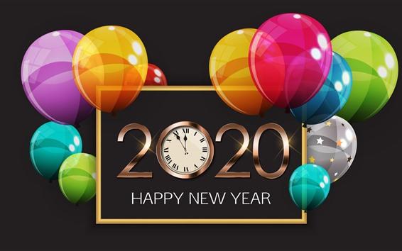 Fond d'écran Bonne année 2020, ballons colorés, horloge