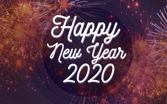 Обои С новым годом 2020, фейерверк фон