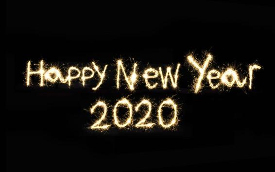 Обои С новым годом 2020, фейерверк, чёрный фон