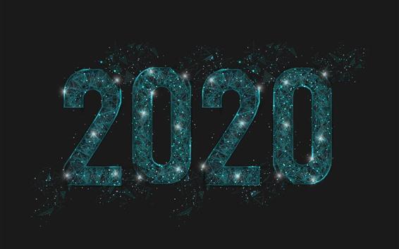 Fond d'écran Bonne année 2020, verre, créatif, étoiles