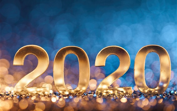 Wallpaper Happy New Year 2020, golden numeric, light circles