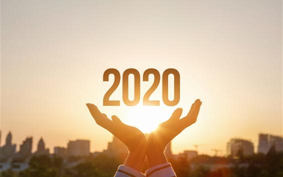 Fondos de pantalla Feliz año nuevo 2020, manos, sol