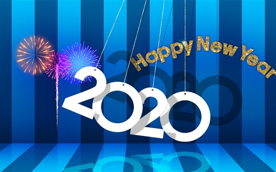 Wallpaper Happy New Year 2020, stage, fireworks