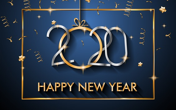 Wallpaper Happy New Year 2020, stars, golden