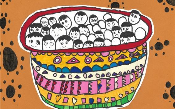 Fond d'écran Happy Winter Solstice, Dumpling, peint par une fillette de six ans