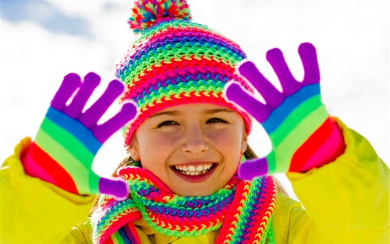Fondos de pantalla Niña feliz, color del arco iris, abrigo, gorro, bufanda, guante