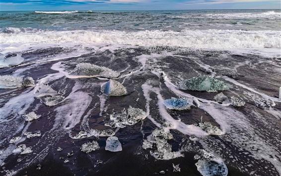 Обои Исландия, пена, берег, море