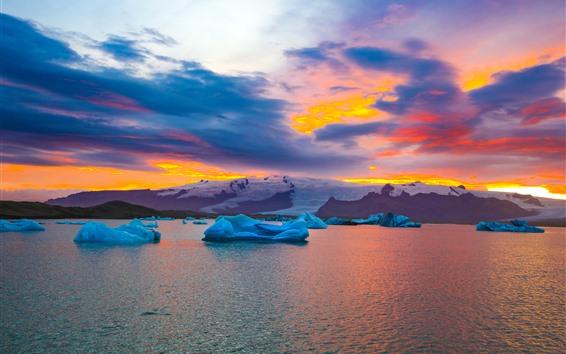 Wallpaper Iceland in autumn, ice, sea, snow, sunset