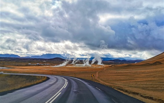 Wallpaper Iceland, road, smoke, clouds, autumn