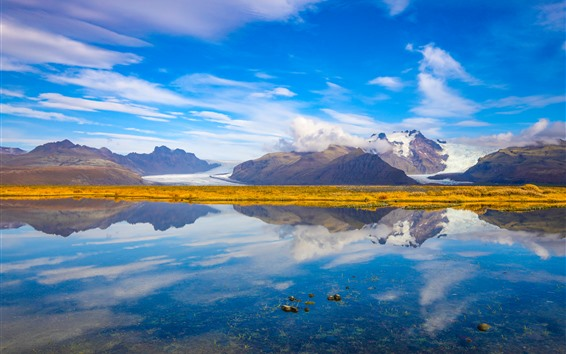 Wallpaper Iceland, sea, mountains, blue sky, water reflection