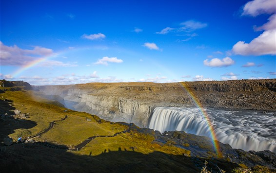 Wallpaper Iceland, waterfall, clouds, nature landscape