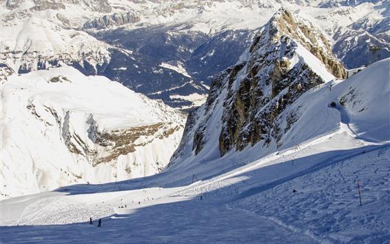 壁紙 イタリア、アルプス、雪、山、冬