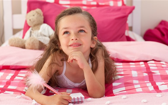 Wallpaper Little girl, child, bed, happy, thinking