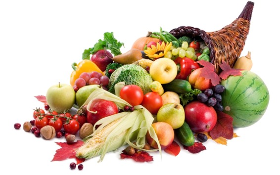 Wallpaper Many kinds of vegetables and fruits, white background