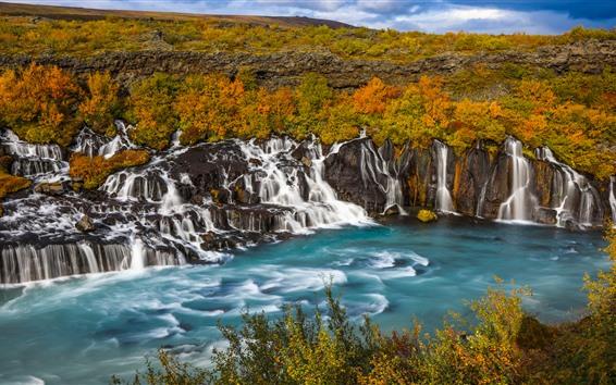 Wallpaper Many waterfalls, Iceland, beautiful nature landscape
