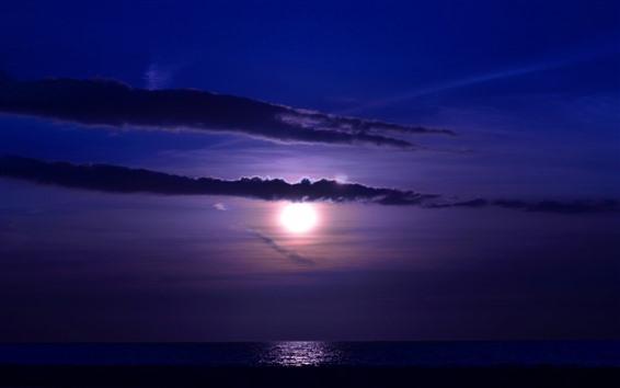 Wallpaper Moon, clouds, sea, night