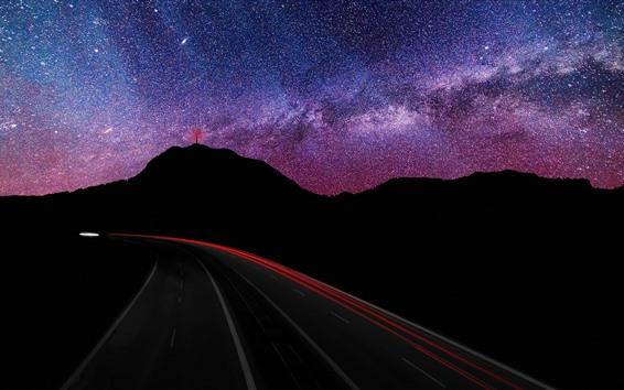 Wallpaper Mountains, starry, night, roads