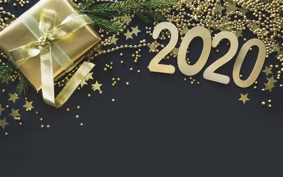 Wallpaper New Year 2020, golden style, gift, stars, jewels