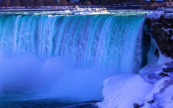 Wallpaper Niagara Falls, Canada, snow, ice, winter