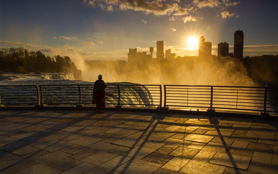 Wallpaper Niagara Falls, morning, fog, sunrise, city, USA