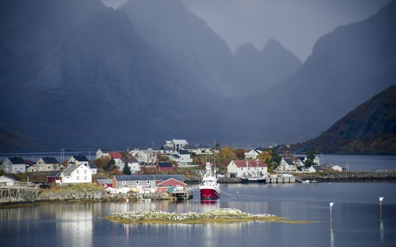 Wallpaper Norway, bay, town, mountains