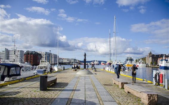 壁紙 ノルウェー、都市、ボート、人々、海