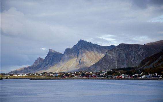 Papéis de Parede Noruega, cidade, casas, montanhas, baía, nuvens