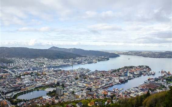Wallpaper Norway, city, top view, sea