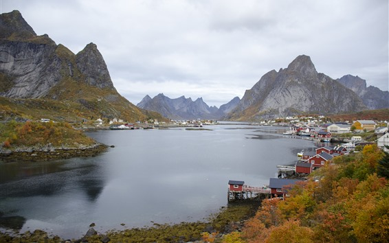 Papéis de Parede Noruega, montanhas, baía, cidade, nuvens