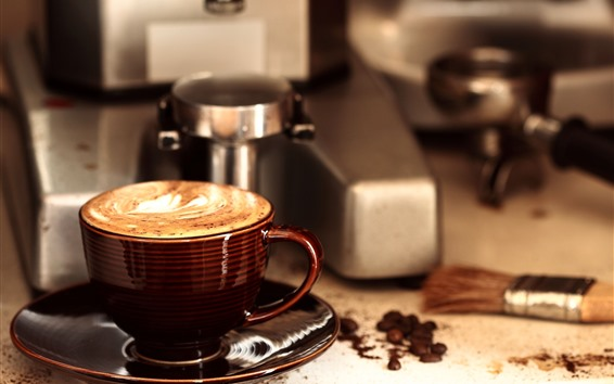 Wallpaper One cup of coffee, coffee maker