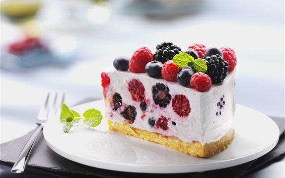 Wallpaper One piece of cake, raspberry, blackberry, blueberry, fork