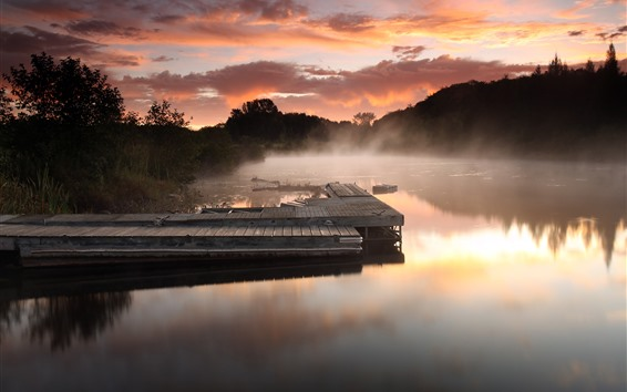 Wallpaper Pier, river, fog, morning, clouds, trees