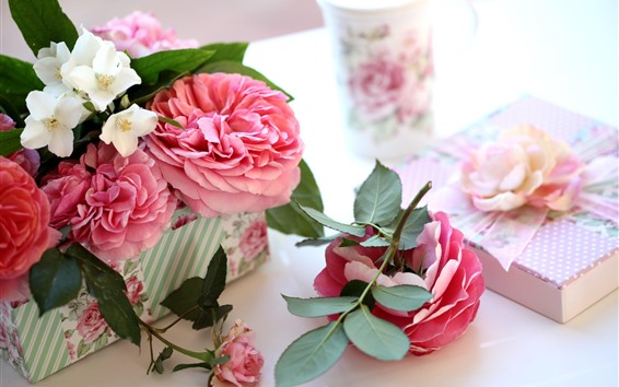 Wallpaper Pink roses and white jasmine, gift, romantic