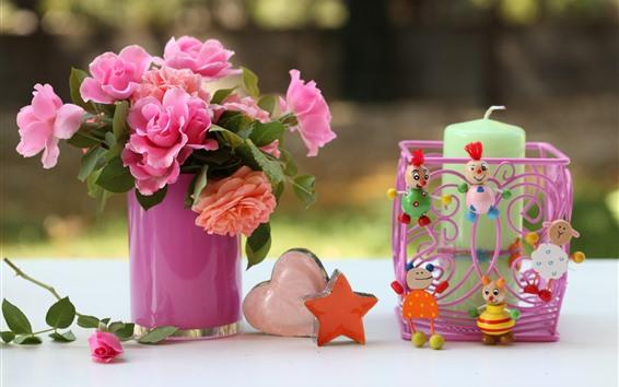 배경 화면 핑크 장미, 사랑의 마음, 별, 장난감, 촛불