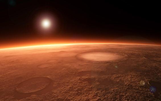 壁紙 惑星、クレーター、太陽、宇宙