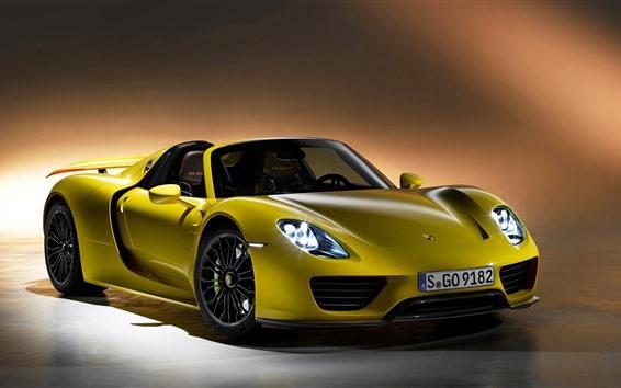 Wallpaper Porsche Spyder yellow supercar