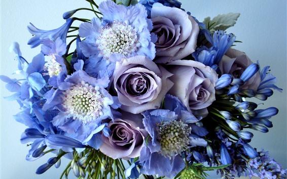 Fondos de pantalla Rosas moradas, ramo, flores