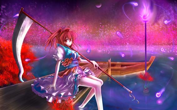 Fond d'écran Fille anime cheveux roux, bateau, jetée, magie, nuit