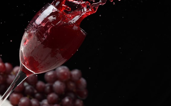 Wallpaper Red wine splash, glass cup, grapes, black background