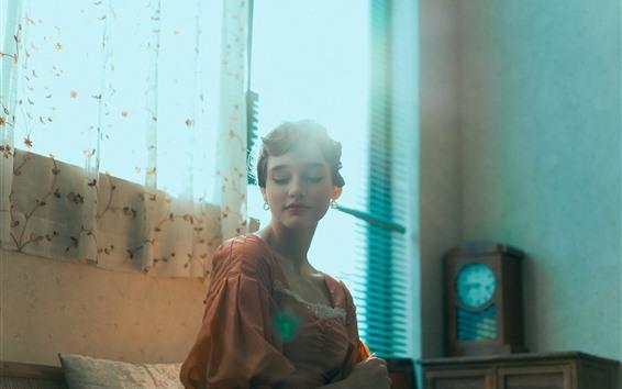 Papéis de Parede Garota de estilo retrô, Anna, janela, luz