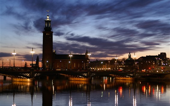 Fondos de pantalla Río, ciudad de noche, faro, río, puente, luces