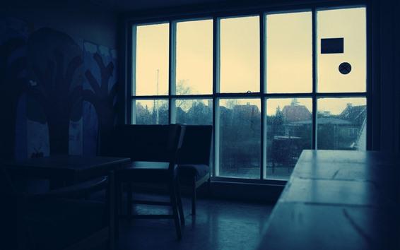 Fondos de pantalla Habitación, ventana, oscura, lluvia