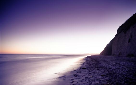 Обои Море, берег, фиолетовый стиль