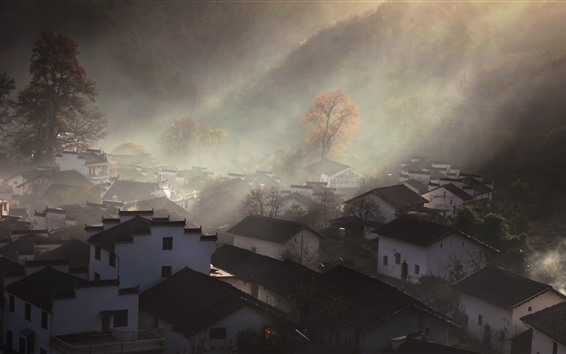 Wallpaper Shicheng, village, houses, sun rays, hazy, morning, China