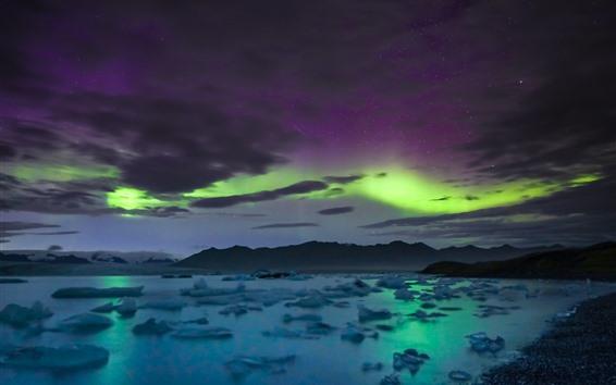 Обои Звездное небо, северное сияние, облака, море, горы, Исландия