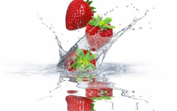 Papéis de Parede Morangos, gotas de água, splash