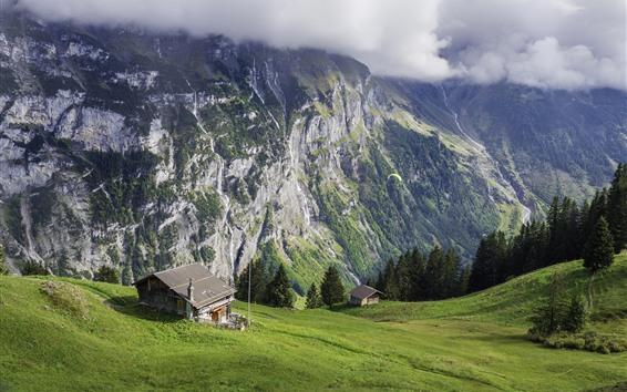 Fond d'écran Suisse, pente, vert, montagnes, maison, nuages