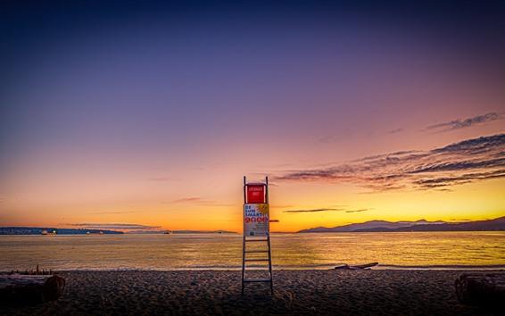Fondos de pantalla Third Beach, Vancouver, mar, costa, puesta de sol, Canadá