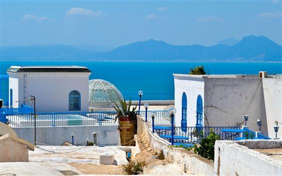 Fond d'écran Tunisie, afrique, mer bleue, montagnes